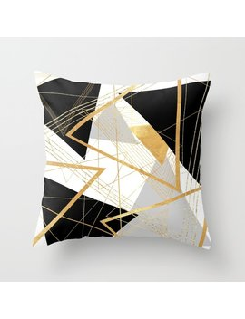 Black And Gold Geometric Throw Pillow by