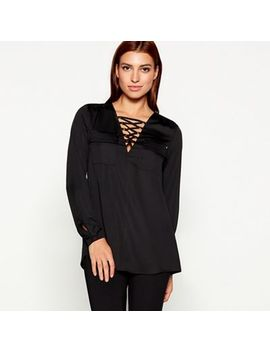 Star By Julien Macdonald   Black Satin V Neck Long Sleeve Blouse by Star By Julien Macdonald