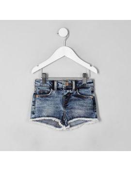 Mini Girls Blue Acid Denim Shorts by River Island