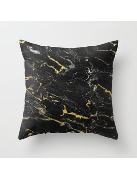 Gold Flecked Black Marble Throw Pillow by