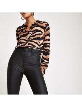 Harper   Zwarte Gecoate Skinny Jeans Met Hoge Taille by River Island