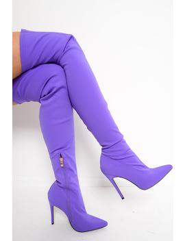 Purple Stretch Thigh High Boots   Lariya by Rebellious Fashion