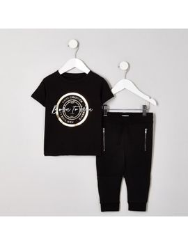 Mini Boys Black 'Born To Win' T Shirt Outfit by River Island