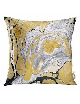 Upoos Throw Pillow Cover Black Gold Golden And Silver Marble Ink Abstract Painting Beautiful Gray Effect Aqua Decorative Pillow Case Home Decor Square 18x18 Inches Pillowcase by Upoos