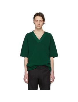 Green Knit Native Short Sleeve Sweater by Dries Van Noten