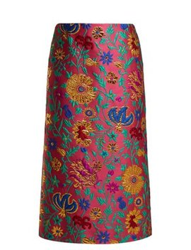 Dragon Flower Floral Brocade Pencil Skirt by La Double J