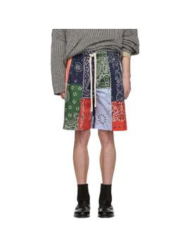 Multicolor Bandana Patchwork Shorts by Loewe