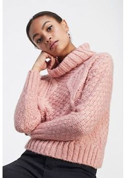 Miss Selfridge   Pink Cable Roll Neck Knitted Jumper by Miss Selfridge