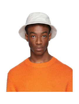 Off White Twill Buk A Bucket Hat by Acne Studios