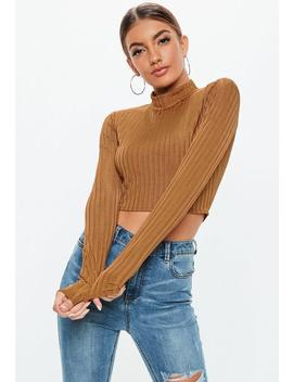 Rust Shiny Ribbed High Neck Crop Top by Missguided
