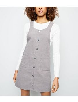Grey Corduroy Button Front Pinafore Dress by New Look