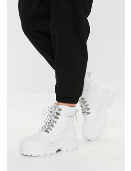 White Super Chunky Sole Trainer Boots by Missguided