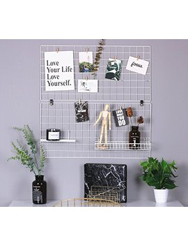 """Rumcent Multifunction Metal Mesh Grid Panel,Wall Decor/Photo Wall/Wall Art Display & Organizer,Pack Of 2 Pcs,Size:15.7"""" X 31.5"""" / 40 X 80 Cm,White Color by Rumcent"""