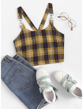 Tartan Plaid Cami Top by Romwe