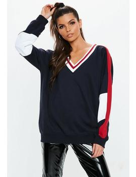Navy Oversized Cricket Sweatshirt by Missguided