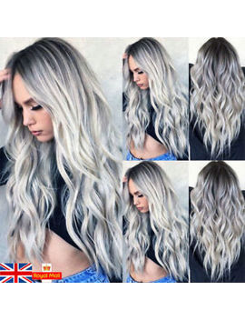 Uk 28'' Women Synthetic Long Wavy Wigs White Black Gray Ombre Cosplay Hair Wig by Ebay Seller