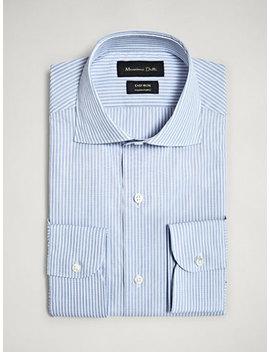 Camisa AlgodÃo Às Riscas Tailored Fit Easy Iron by Massimo Dutti
