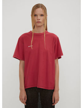 Embroidered Princess Fitted Inside Out T Shirt In Pink by Vetements