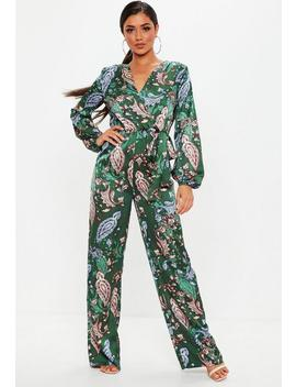 Green Paisley Printed Satin Jumpsuit by Missguided