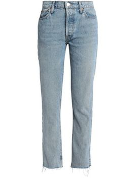 The Crawford Frayed Mid Rise Straight Leg Jeans by Re/Done