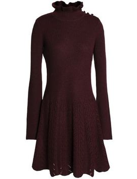 Fluted Button Detailed Ribbed Wool Mini Dress by See By ChloÉ