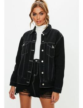Black Denim Contrast Stitch Boyfriend Jacket by Missguided