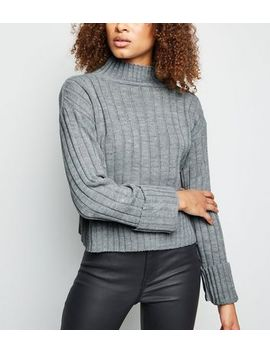 Cameo Rose Grey Ribbed High Neck Jumper by New Look