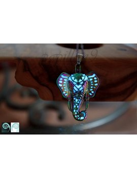 Elephant Locket Glow In The Dark / Rainbow Necklace / Stainless Steel /  Blue Pendant / Animal / by Etsy