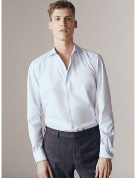 Camisa Oxford Microestrutura Tailored Fit Easy Iron by Massimo Dutti
