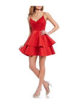 Lace Bodice Double Hem Fit And Flare Dress by B. Darlin
