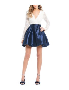 Long Sleeve Lace Bodice Satin Fit And Flare Dress by Xtraordinary