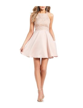Double Strap Embroidered Bodice Fit And Flare Dress by Xtraordinary