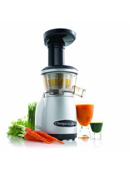 Omega Juicers Vrt350 Vertical Slow Masticating Juicer Makes Continuous Fresh Fruit And Vegetable Juice At 80 Revolutions Per Minute Features Compact Design Automatic Pulp Ejection, 150 Watt, Silver by Omega Juicers