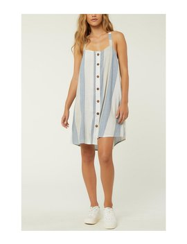 Drew Stripe Button Front Woven Tank Dress by O'neill