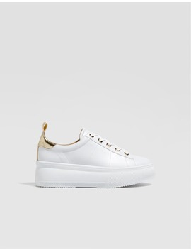 Białe Sportowe Buty Na Platformie by Stradivarius