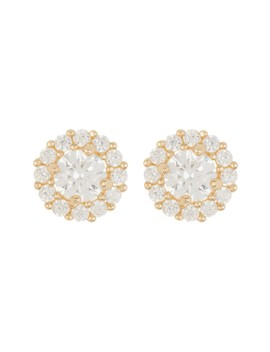 14 K Yellow Gold Halo Cz Earrings by Candela