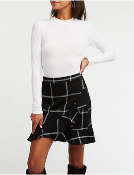 Windowpane Ruffle Trim Tulip Skirt by Charlotte Russe