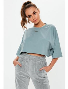 Gray Raw Hem Cropped T Shirt by Missguided