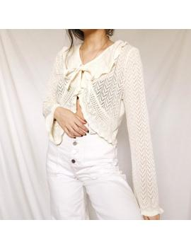 Vintage White Crochet Ruffle Detail Cropped Sweater by Etsy