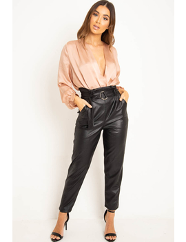 Black Coated Belted Tapered Trousers   Reyna by Rebellious Fashion