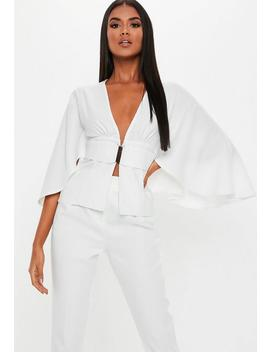 White Belted Tailored Jacket by Missguided