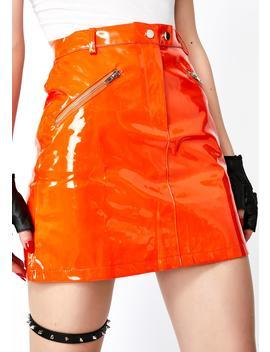 Vibrant Slime Crimez Moto Skirt by O Vianca