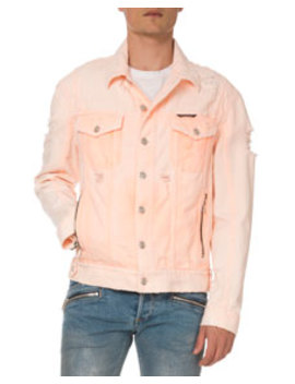 Men's Distressed Neon Denim Jacket by Balmain
