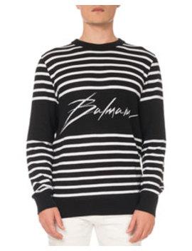 Men's Striped Cotton Sweatshirt by Balmain