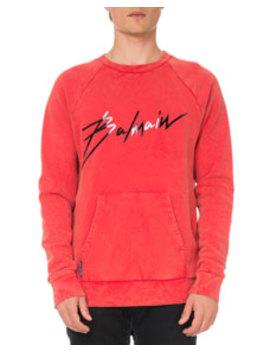 Men's Logo Graphic Crinkled Sweatshirt by Balmain