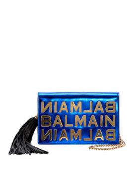 Mirror Leather Pochette Crossbody Bag by Balmain