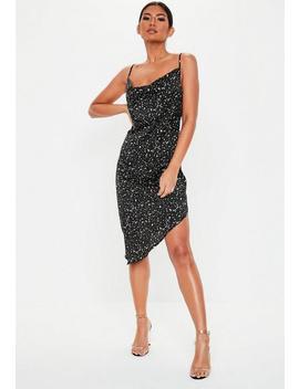 Black Monochrome Speckle Print Asymmetric Hem Mini Dress by Missguided