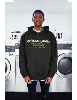 Man Care Label Oversized Hoodie With Hood Print by Boohoo