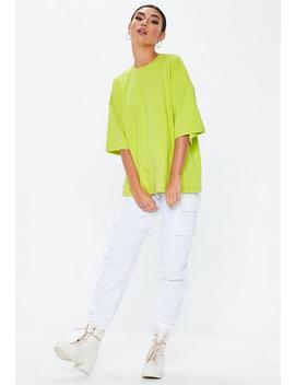 T Shirt Vert Citron Oversize à épaules Tombantes by Missguided