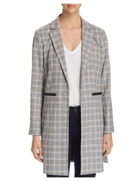 Glen Plaid Long Open Front Blazer by Kenneth Cole